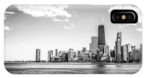 Chicago Lakefront Skyline Black And White Picture IPhone Case
