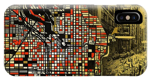Chicago Art iPhone Case - Chicago Map Drawing Collage 2 by Bekim M