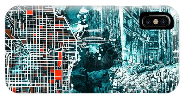 Chicago Art iPhone Case - Chicago Map Drawing Collage by Bekim M