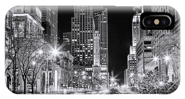 Avenue iPhone Case - Chicago Michigan Avenue Light Streak Black And White by Christopher Arndt