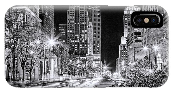 Chicago Michigan Avenue Light Streak Black And White IPhone Case