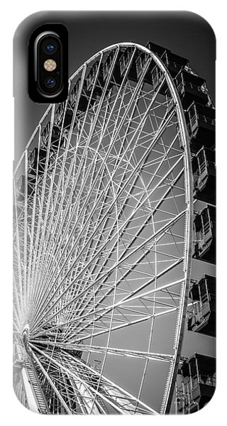 Chicago Navy Pier Ferris Wheel In Black And White IPhone Case