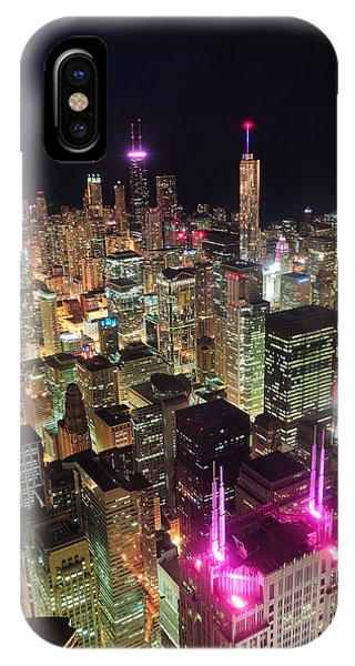 Chicago Night Aerial View IPhone Case