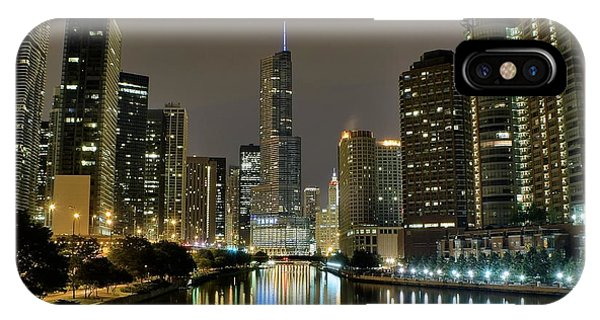 Chicago Skyline Art iPhone Case - Chicago Night River View by Frozen in Time Fine Art Photography