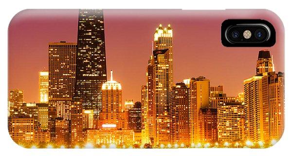 Chicago Night Skyline With John Hancock Building IPhone Case