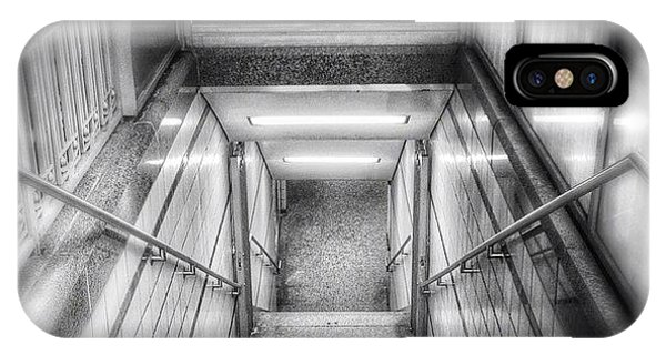 White iPhone Case - Chicago Lake Cta Red Line Stairs by Paul Velgos