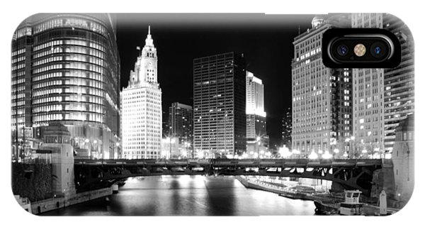 Chicago River Bridge Skyline Black White IPhone Case