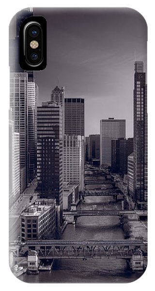 Chicago River iPhone Case - Chicago River Bridges South Bw by Steve Gadomski