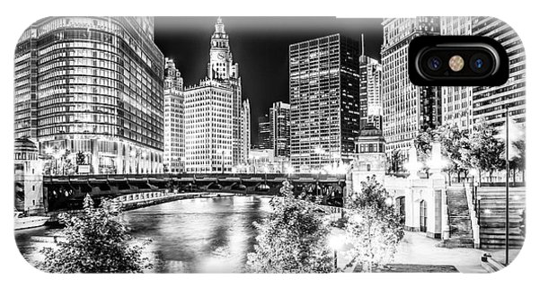 Skyline iPhone Case - Chicago River Buildings At Night In Black And White by Paul Velgos