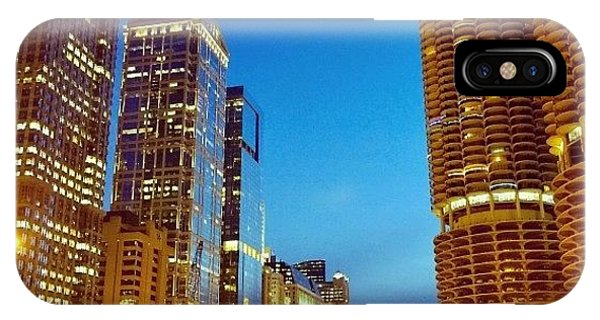 City iPhone Case - Chicago River Buildings At Night Taken by Paul Velgos
