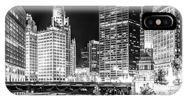 Chicago River Cityscape Panorama Photo With Wabash Bridge  IPhone Case