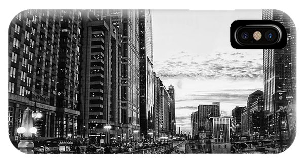 Chicago River Hdr Bw IPhone Case