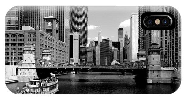 Chicago River Skyline Bridge Boat IPhone Case