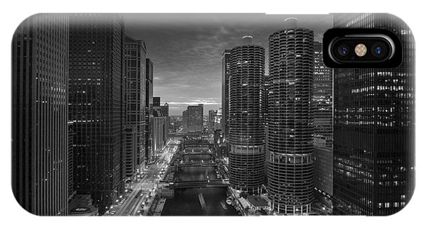 Chicago River iPhone Case - Chicago River Sunset B W by Steve Gadomski