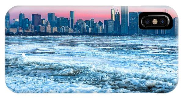 Chicago Skyline At Dawn - Lake Michigan 3-9-14 Phone Case by Michael  Bennett