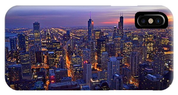 Chicago Skyline At Dusk From John Hancock Signature Lounge IPhone Case