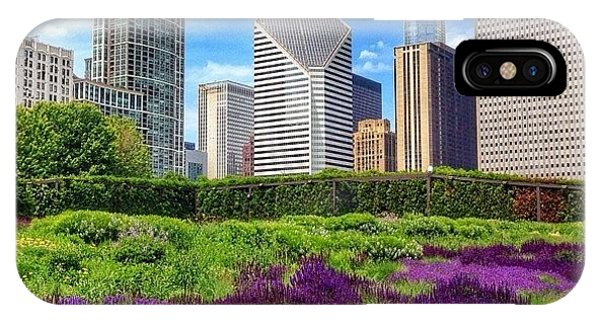 Chicago Skyline At Lurie Garden IPhone Case