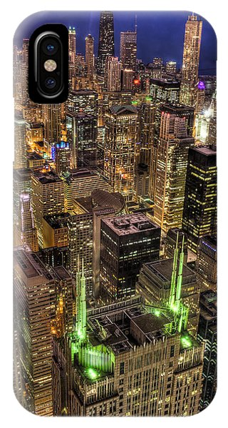 Chicago Skyline At Night 1 Phone Case by Michael  Bennett