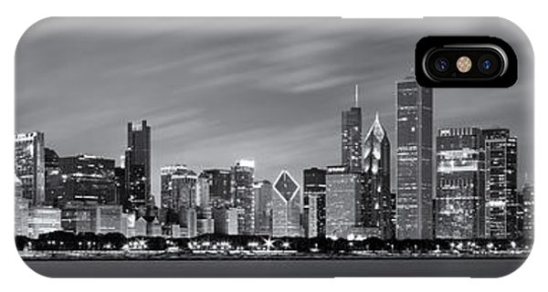 Chicago Skyline iPhone Case - Chicago Skyline At Night Black And White Panoramic by Adam Romanowicz