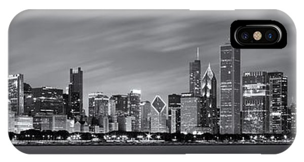 Chicago iPhone Case - Chicago Skyline At Night Black And White Panoramic by Adam Romanowicz