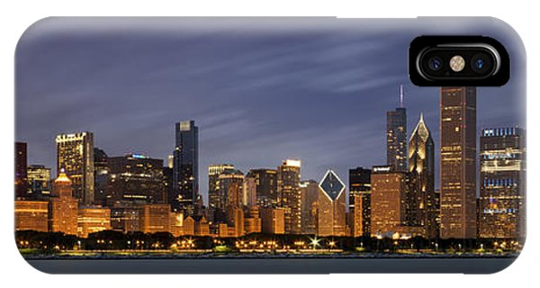 Skyline iPhone Case - Chicago Skyline At Night Color Panoramic by Adam Romanowicz