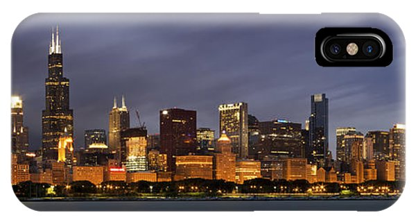 Chicago Skyline iPhone Case - Chicago Skyline At Night Color Panoramic by Adam Romanowicz