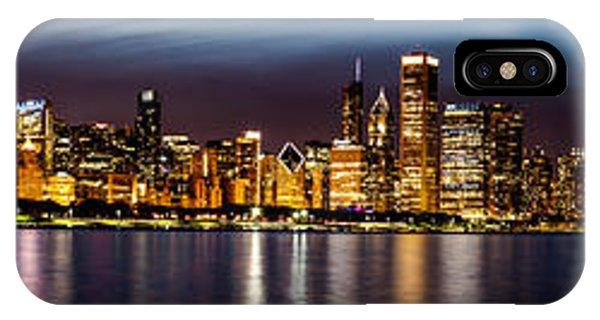 Chicago Skyline At Night Panoramic IPhone Case
