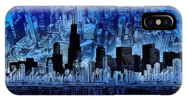John Hancock Center iPhone Case - Chicago Skyline Blue Version by Bekim M