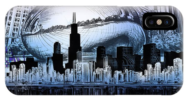 Chicago Art iPhone Case - Chicago Skyline Drawing Collage 2 by Bekim M