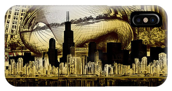 Chicago Art iPhone Case - Chicago Skyline Drawing Collage 3 by Bekim M