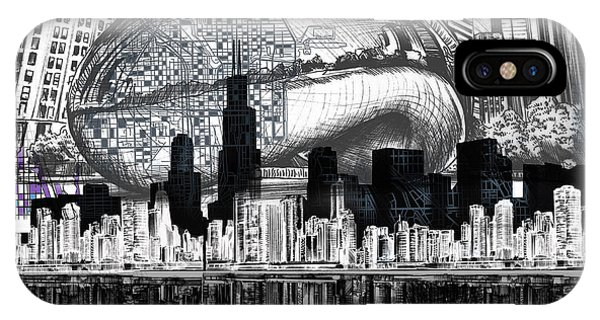 John Hancock Center iPhone Case - Chicago Skyline Drawing Collage by Bekim M