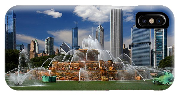 Chicago Skyline Grant Park Fountain Clouds IPhone Case