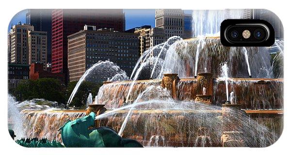 Chicago Skyline Grant Park Fountain IPhone Case