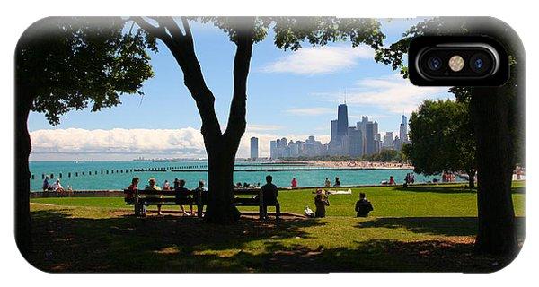 Chicago Skyline Lakefront Park IPhone Case