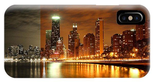 Chicago Skyline Night Amber IPhone Case