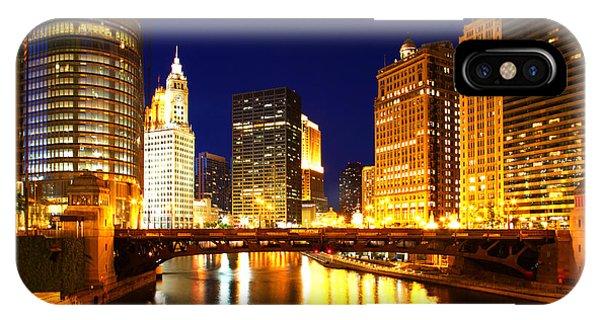 Chicago Skyline Night River IPhone Case