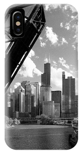 Chicago-skyline-raised Bridge Black White IPhone Case