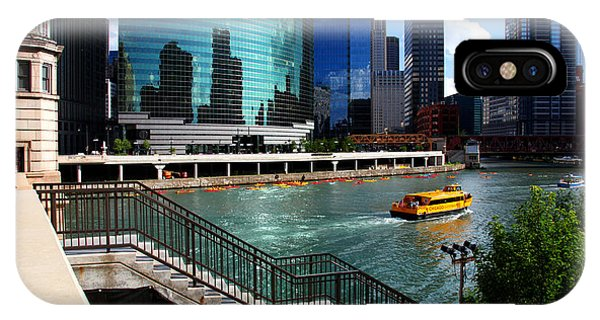 Chicago Skyline River Boat IPhone Case
