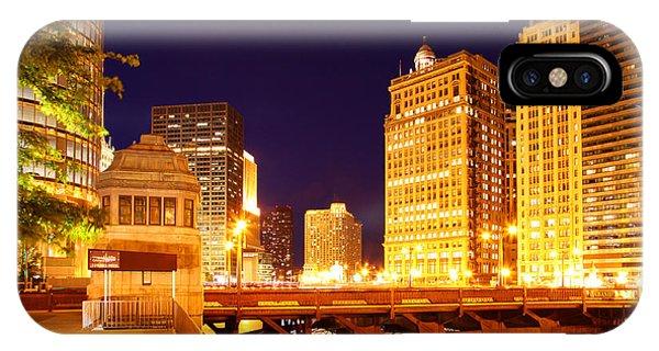 Chicago Skyline River Bridge Night IPhone Case
