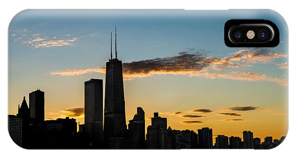 City Sunset iPhone Case - Chicago Skyline Silhouette by Steve Gadomski