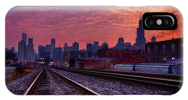Chicago Skyline Sunrise December 1 2013 02 IPhone Case