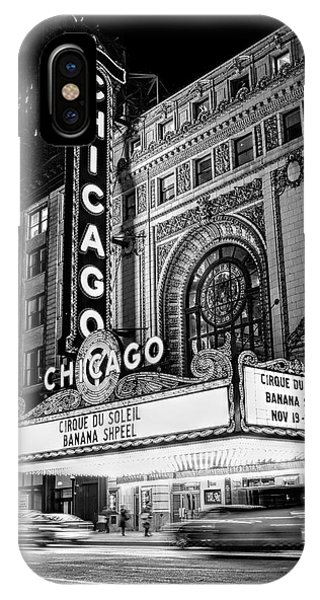 Chicago Theatre Marquee Sign At Night Black And White IPhone Case