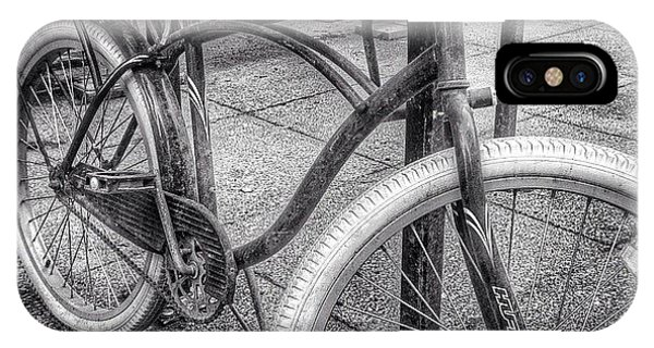 City iPhone Case - Locked Bike In Downtown Chicago by Paul Velgos