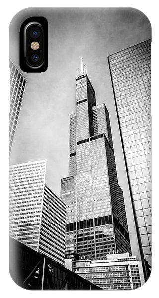 Chicago Willis-sears Tower In Black And White IPhone Case
