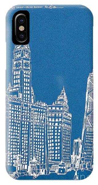 Chicago Wrigley And Hancock Bldgs Silkscreen Print IPhone Case