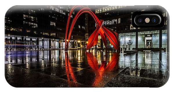 Chicago's Red Flamingo On A Rainy Night IPhone Case