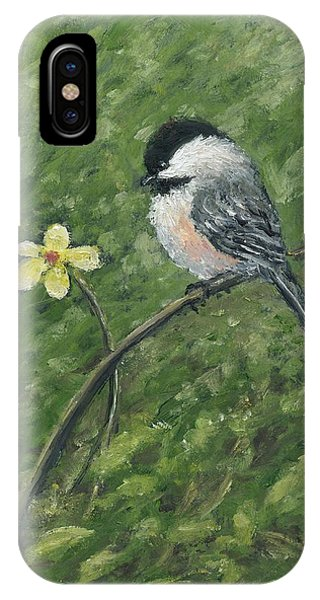 Chickadee And Yellow Flower IPhone Case