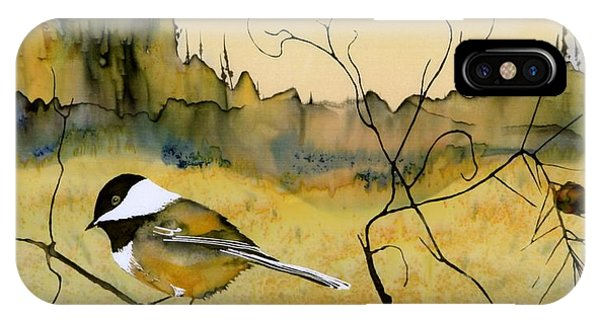 Bird iPhone Case - Chickadee In Dancing Pine by Carolyn Doe