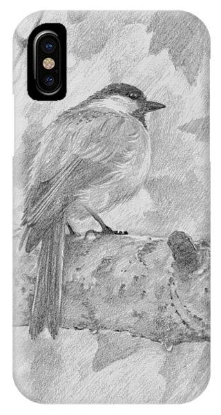 Chickadee In The Rain IPhone Case