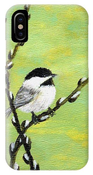 Chickadee On Pussy Willow - Bird 1 IPhone Case